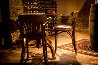 A quiet spot in the wine cellar